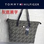 TOMMY HlLFlGER-0014 百搭新款灰底黑字帆布單肩購物袋