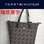 TOMMY HlLFlGER-0014-3百搭新款咖底黑字帆布單肩購物袋