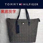 TOMMY HlLFlGER-0014-5 百搭新款黑底灰字帆布單肩購物袋