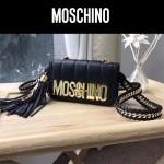moschino-039 鬼爪鏈條流蘇包意大利進口山羊皮金屬混合編織單肩斜挎包