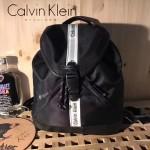 Calvin Klein-0034 潮流個性原單黑色防水面料配皮束口雙肩包書包
