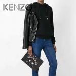 KENZO-006 潮人必備單品原單眼睛刺繡牛皮大號手拿包