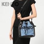 KENZO-003 輕便實用女士原單牛仔布配牛皮抽繩單肩水桶包