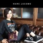 Marc Jacobs-011-2 宋佳同款蛇形金屬扣棗紅色牛皮小號單肩斜挎包