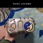 Marc Jacobs-04 貴奢華銀色蛇紋配日月刺繡鑲鑽單肩斜挎包相機包