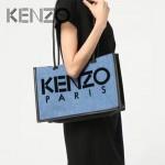 KENZO-0015 專櫃走秀款原單牛仔布配皮3D立體刺繡單肩購物袋