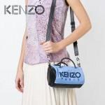 KENZO-0012 專櫃走秀款原單牛仔布配皮3D立體刺繡小號手提單肩包