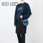 KENZO-0013 專櫃走秀款原單牛仔布配皮3D立體刺繡小圓包