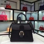 Delvaux-19-3 潮人必備新款brillant黑色原版牛皮豎款大號手提單肩包
