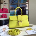Delvaux-18-7 名媛必備brillant黃色原版粒面牛皮橫款大號手袋