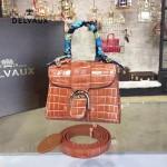 Delvaux-029-2 Sellier Brillant鱷魚紋牛皮 小羊皮內裏可調節肩帶原裝禮盒手提單肩斜挎包