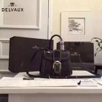 Delvaux-015-6 潮流百搭手工車線brillan黑色原版TOGO皮手提單肩包