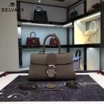 Delvaux-18-5 名媛必備brillant深灰色原版粒面牛皮橫款大號手袋