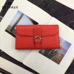 Delvaux-21-4 時尚復古Brillan Frence紅色原版牛皮翻蓋錢包手拿包
