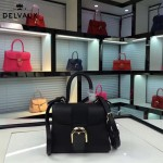 Delvaux-017-3 人氣熱銷brillant黑色原版粒面牛皮手提單肩包
