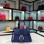 Delvaux-017-5 人氣熱銷brillant藍色原版粒面牛皮手提單肩包