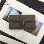 Delvaux-21-3 時尚復古Brillan Frence深灰色原版牛皮翻蓋錢包手拿包