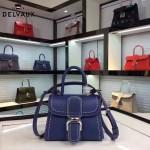 Delvaux-015-4 潮流百搭手工車線brillan藍色原版TOGO皮手提單肩包