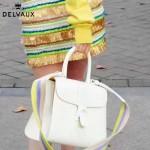 Delvaux-06 春夏專櫃定制款Brillant 彩虹系列白色原版牛皮手提單肩包