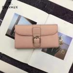 Delvaux-21-2 時尚復古Brillan Frence粉色原版牛皮翻蓋錢包手拿包