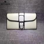 Delvaux-20 名媛必備Brillan Frence Box原單黑白配牛皮翻蓋長款錢包