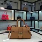 Delvaux-18-6 名媛必備brillant土黃色原版粒面牛皮橫款大號手袋