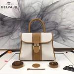 Delvaux-012 最新爆款純手工編織絲麻配原版牛皮豎款大號手提單肩包