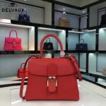 Delvaux-19-2 潮人必備新款brillant紅色原版牛皮豎款大號手提單肩包