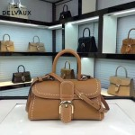 Delvaux-014-5 百搭新款手工車線brillan土黃色原版TOGO皮橫款大號手袋