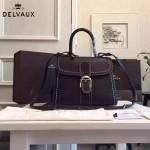 Delvaux-013-7 百搭新款手工車線brillan黑色原版TOGO皮豎款大號手袋