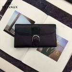 Delvaux-21 時尚復古Brillan Frence黑色原版牛皮翻蓋錢包手拿包