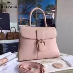 Delvaux-19-4 潮人必備新款brillant粉色原版牛皮豎款大號手提單肩包