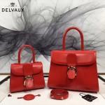 Delvaux-05-9 復古風brilliant 大紅色原版BOX光面牛皮大號手提單肩包