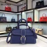 Delvaux-014-4 百搭新款手工車線brillan藍色原版TOGO皮橫款大號手袋