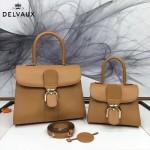 Delvaux-05-6 復古風brilliant 土黃色原版BOX光面牛皮大號手提單肩包