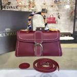Delvaux-014-7 潮流百搭手工車線brillan紅色原版TOGO皮手提單肩包