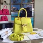 Delvaux-17-9 人氣熱銷brillant黃色原版粒面牛皮手提單肩包