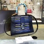 Delvaux-06-4 春夏專櫃定制款Brillant 彩虹系列黑色原版鱷魚紋手提單肩包