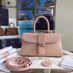 Delvaux-18-2 名媛必備brillant粉色原版粒面牛皮橫款大號手袋