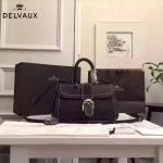 Delvaux-014-6 百搭新款手工車線brillan黑色原版TOGO皮橫款大號手袋