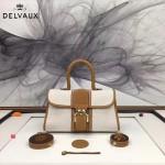 Delvaux-011 最新爆款純手工編織絲麻配原版牛皮橫款大號手提單肩包