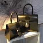 Delvaux-05-8 復古風brilliant 軍綠色原版BOX光面牛皮大號手提單肩包