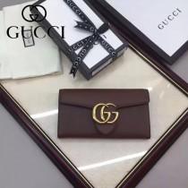 GUCCI 400586-10 時尚女士新款雙G扣咖啡色全皮搭扣長款錢包