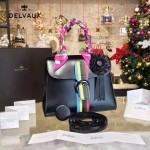 Delvaux-035 box皮槍色五金時尚潮流黑色手提單肩斜挎包