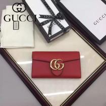 GUCCI 400586-11 時尚女士新款雙G扣紅色全皮搭扣長款錢包