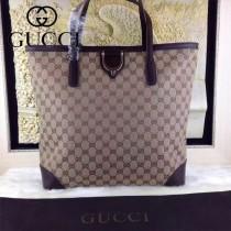 GUCCI 305585-2 時尚新款女士雙G帆布配咖啡色牛皮單肩購物袋