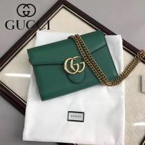 GUCCI 401232-05 時尚復古風雙G扣祖母綠全皮單肩斜挎包