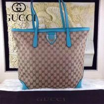 GUCCI 305585-3 時尚新款女士雙G帆布配藍色牛皮單肩購物袋