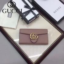 GUCCI 400586-12 時尚女士新款雙G扣粉色全皮搭扣長款錢包