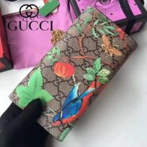 GUCCI-453506 新款PVC配牛皮絲印天竺葵系列女士壓花長夾